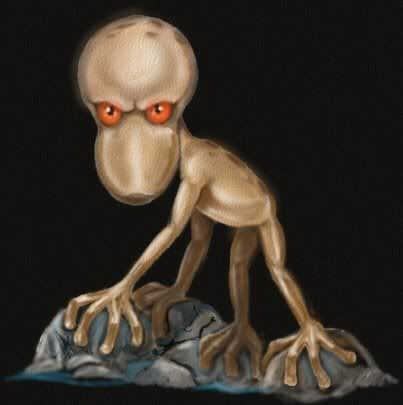 The Cree Indians speak of a race of trickster spirits that they call the Mannegishi (the name is singular as well). These creatures are described as being three to four feet in height, and appear as hairless, sexdactylous semi-humanoids with gray, rough-looking skin, long and very thin lanky arms and legs (having two hands with six fingers each), large heads with no nose or mouth, and large eyes that are said to glow in the dark.