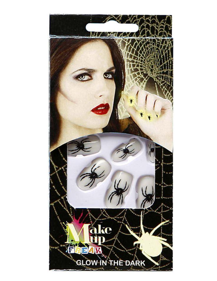 Uñas fosforescentes arañas Halloween: Este lote incluye 12 uñas falsas con…