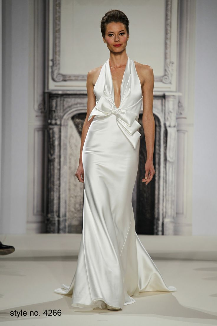 Silk charmeuse halter sheath with plunging neckline and for Silk charmeuse wedding dress