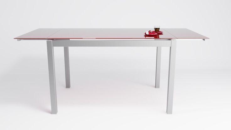 Mesa de cocina extensible Apolo en cristal con alas independientes.