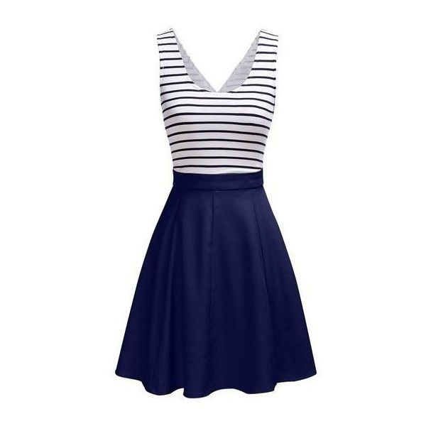 Zipper Closure Open Back Striped Dress (£18) ❤ liked on Polyvore featuring dresses, navy blue, print dress, blue dress, blue sleeveless dress, navy blue dress and a line dress