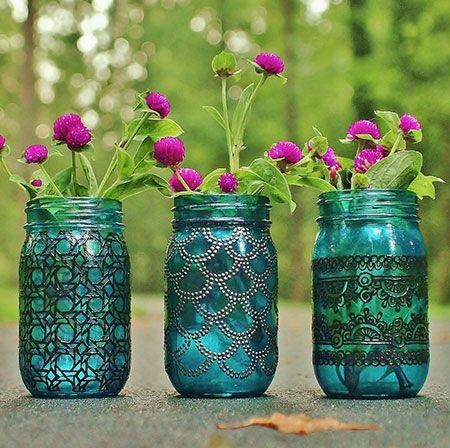Vidro de conserva decorado