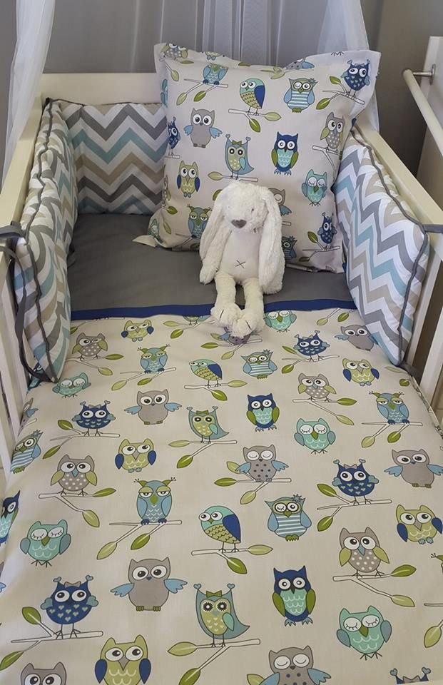 For an #OwlTheme nursery, we have the perfect combination of #Blue and #Green, which matches perfectly with #Grey - perfect for any #BabyBoy!  #BabyBedding #BabyLinen