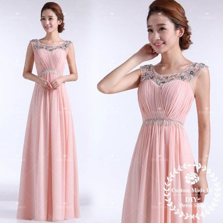 Empire Pink Chiffon Prom Dress,Scoop Neckline with Beadings Long Evening Gowns,Princess Prom Gown,Evening Dresses,Dress for 2014 Prom