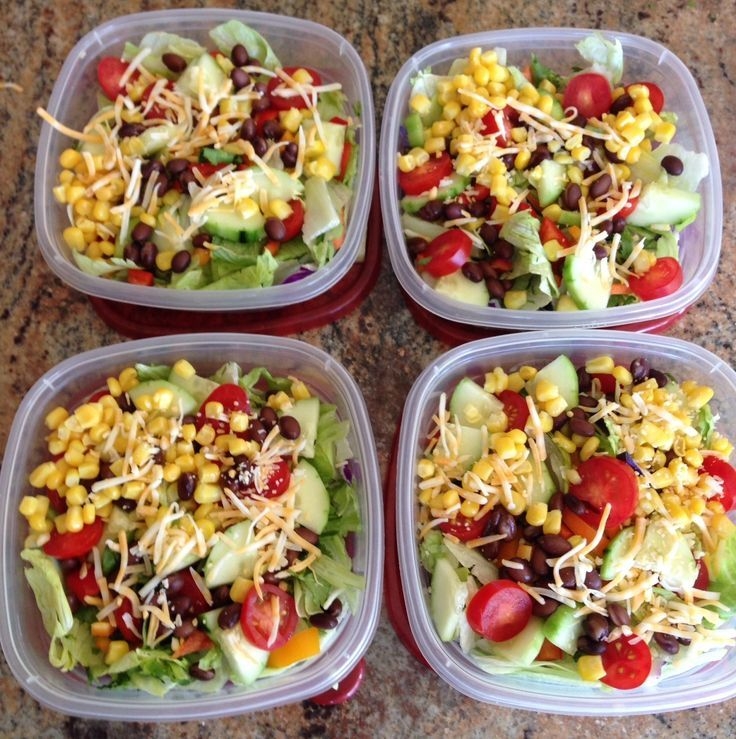 Meal prep for the week. Mexican Santa Fe Salads: lettuce, cucumbers, cherry toma…