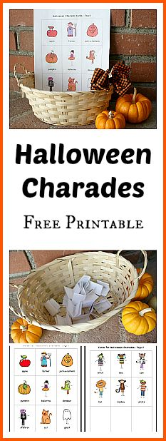 Halloween Charades Free Printable~ Buggy and Buddy Please follow me and visit me at howtohome.org and on fb at https://www.facebook.com/naturalDIY. I am a mom of 2 boys diagnosed with MS and can use all the likes/followers. Trying to make a living blogging:)