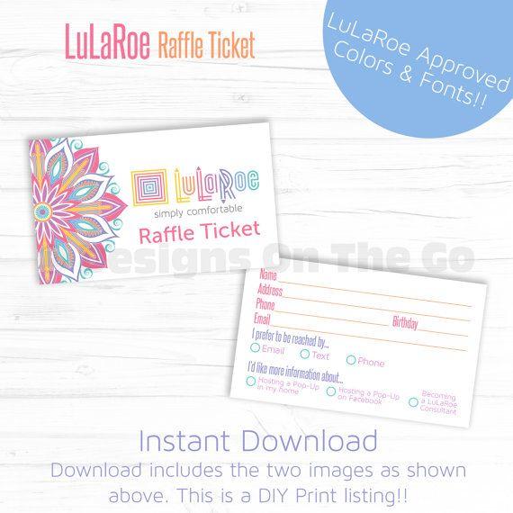 LuLaRoe Approved Font & Color Raffle Ticket - Instant Download - DIY Print…