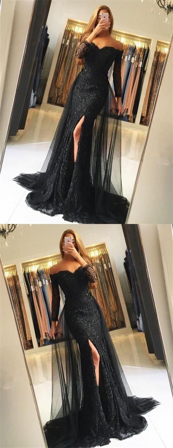 Black Lace Tulle Newest Mermaid Prom Dress, Long Sleeves Prom Dresses, Evening Dress, PD0443