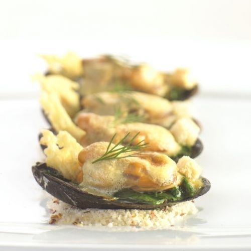 Mosselgratin met spinazie