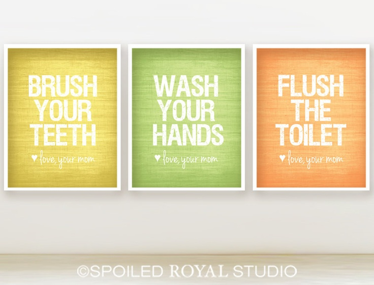 Love Mom Bathroom Prints - 8x10 - Set of 3 - You Choose Color - Teal, Royal Blue, Grey - Modern Posters. $36.00, via Etsy.