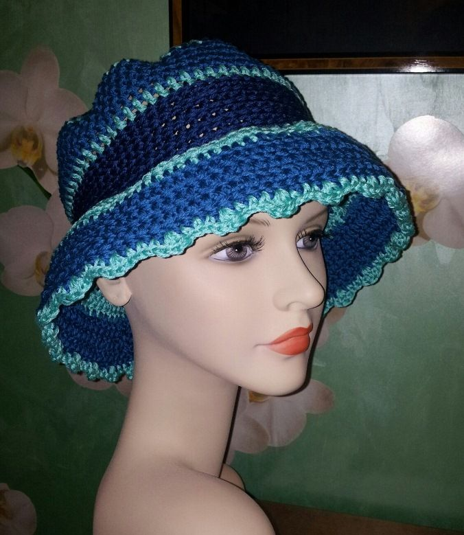 Cappello uncinetto estivo in cotone 100% (bluette/turchese/blu)
