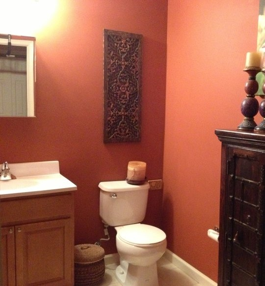 Detailed scrollwork type wall decor salmon salmon the for Salmon bathroom ideas