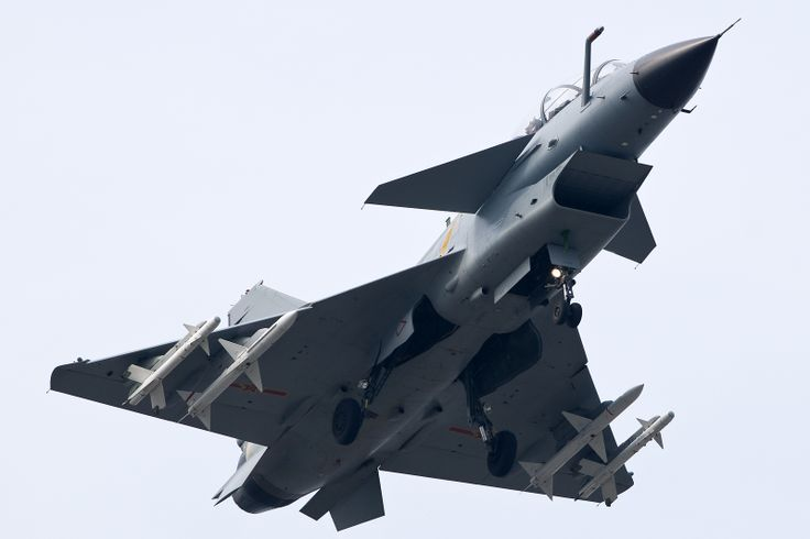 Peoples Liberation Army Air Forces J-10 Vigorous Dragon with PL-8 Within Visual Range Air-to-Air Missile and PL-12 Beyond Visual Range Air to Air Missile.
