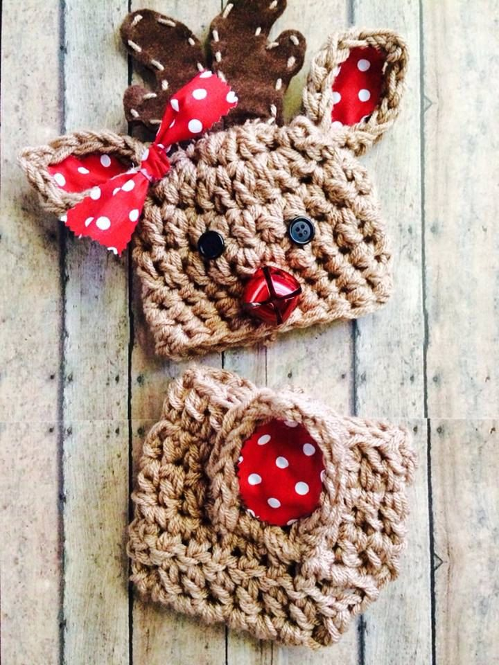 Reindeer Set Diaper Cover and Hat Boys or Girls by Chamberlaynes, $20.00