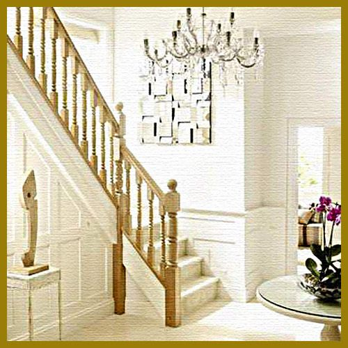 Furniture, The Nice Design Of Staircases For Small Spaces With Wooden White Staircases Also The Chandelier On White Roof With Circle Table On White Floor With White Wall In The Room: The Exciting Design Of The Staircases For Small Spaces In The House With The Beautiful Style
