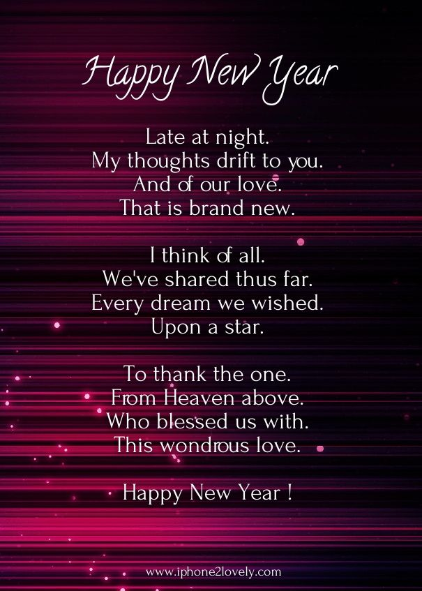 Romantic new year poems for her | Happy new year love, New ...