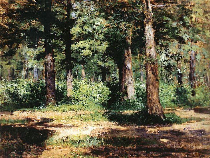 Левитан Исаак Ильич (1860-1900) Isaak Levitan Лес. Солнечный день.. 1883-1884