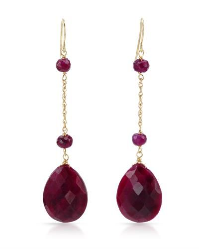 Brand New Earrings With 22.00ctw Genuine Rubies  14K Yellow Gold Length 53mm - Certificate Available.
