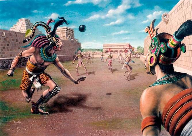 People Of The Mayan Civilization Playing Games Aztec Art Aztec Warrior Mayan Culture