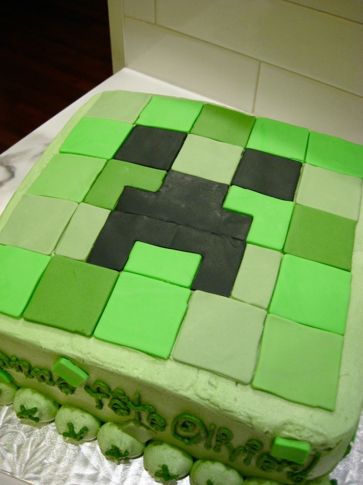 Minecraft Creeper cake with fondant and buttercream icing. Baked for a 14th birthday.