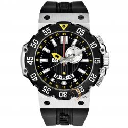 CAT Men's D314521124 Deep Ocean Chrono Black Analog Dial and Stainless Steel Case with Black Rubber Strap Watch