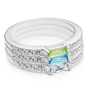 Personalized Sterling Birthstone Triple Stack Rings With Free Keepsake Box, Add Your Message