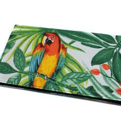 Porte-chéquier exotique en tissu à motif perroquet