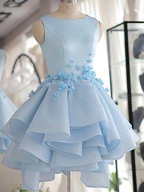A-line Scoop Neck Satin Tulle Short/Mini Flower(s) Original Prom Dresses #Milly020103777