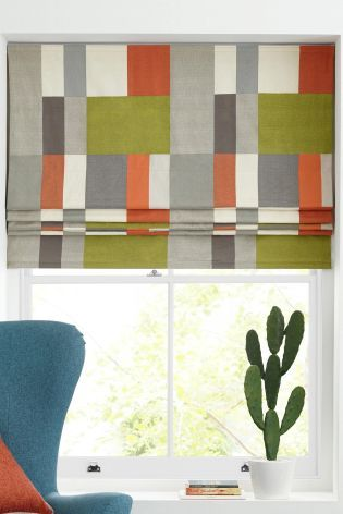 Multicoloured Block Print Roman Blind Studio Collection By Next