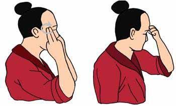 masajear las sienes circular exterior, con las puntas de los índices y medio para sedar el gran yang