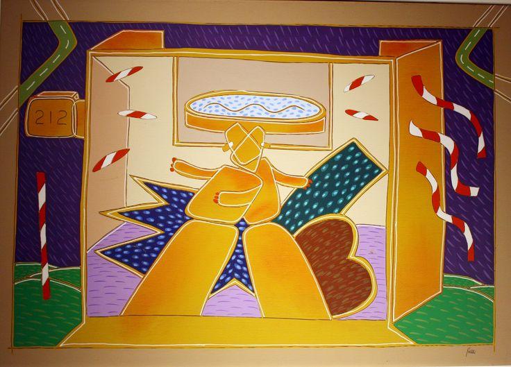 """""""Manichini"""" - acrilico su tela 50 x 70 cm, anni '70 (Artist: Giuliano Ghelli)"""