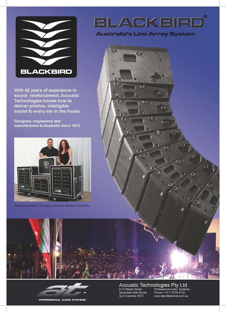 #ATProfessional - Products -The extensively braced cabinet in the Blackbird Line Array  is constructed entirely from premium grade, void free Finnish Birch ply and is fitted with a rugged perforated steel grille to the protect the transducers. The cabinet is finished in black AcoustiCoate elastomer and fitted with dual NL8 Speakon connectors with loop thru connections for Sub Bass provided. The cabinet is also available in a range of custom finishes on request. #pasystem #audiotechnology…