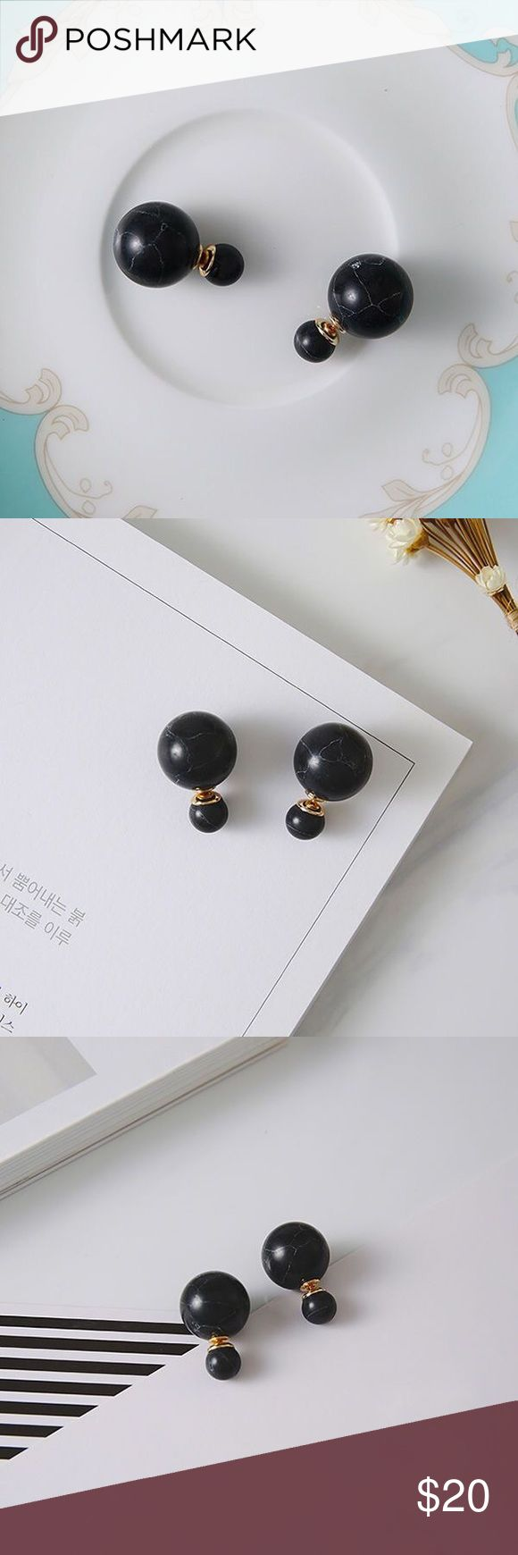 🆕the marble front & back earring • style name: the marble front & back earring • color: black marble • material: faux marble composite, metal alloy • front & back style earrings • faux marble ball front & back style earrings w/ gold tone hardware • condition: brand new boutique item ____________________________________________________ ✅ make an offer!     ✅ i bundle! ✅ posh compliant closet ⛔️ no trades 🛍 boutique item Jewelry Earrings