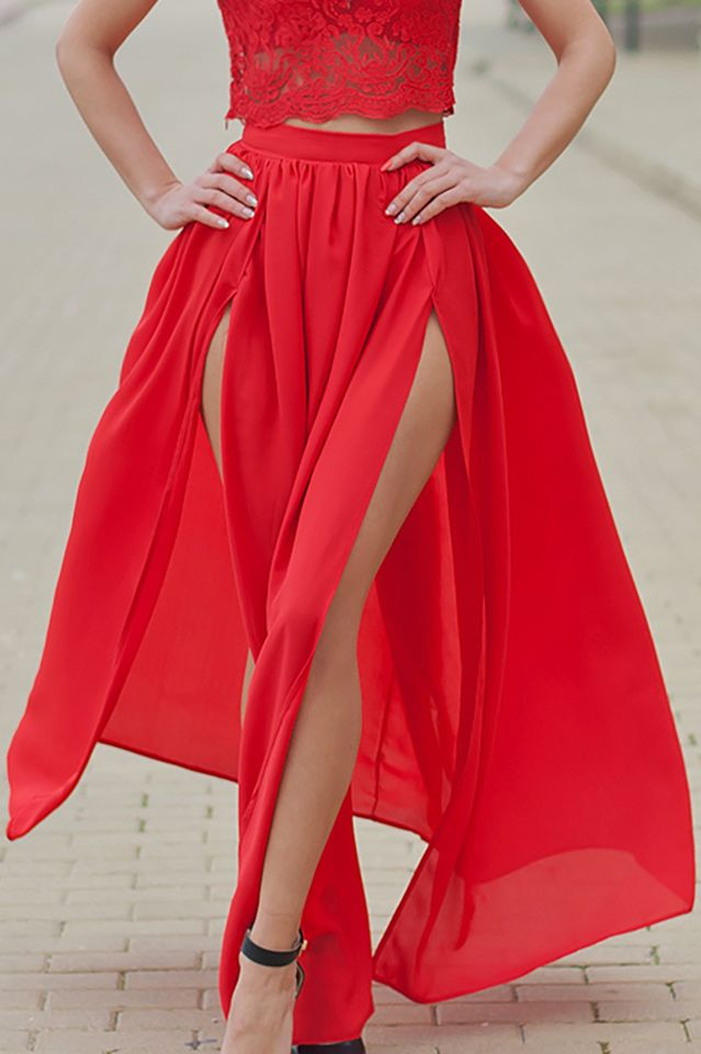 458777d76c Chiffon Skirt / Double Slit Maxi Skirt / Sexy Maxi Skirt / Long Women's  Skirts /