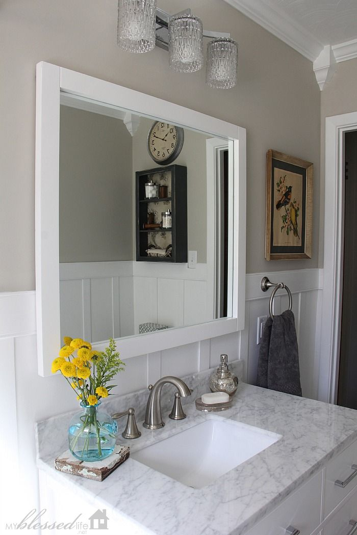 Beautiful Cottage-Style Bathroom Makeover | MyBlessedLife.net. Sherwin Williams Revere Pewter on the walls