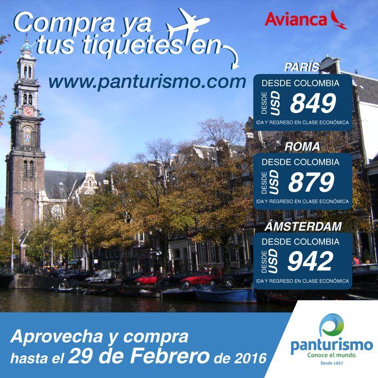 Viaja a París, Roma o Ámsterdam hasta el 29 de Febrero. Aprovecha! www.panturismo.com