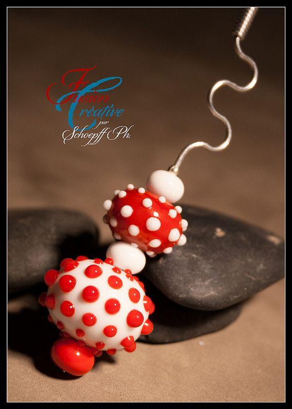 "Pendentif Collection ""Red Point"" Perles de verre de Murano. Fait Main."