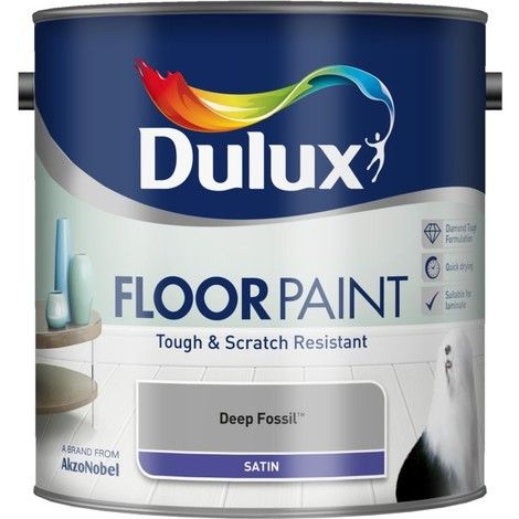 White Dulux Floor Paint Satin 2.5L - 5186488 - Flooring, painting and decorating