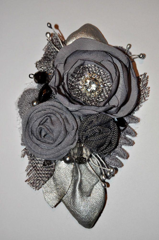 diamante grey silver corsage brooch dress pin wedding bride vintage 12 cm formal
