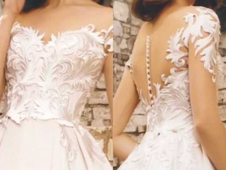 A Line Illusion Neckline Silky Lace Satin Wedding Dress With Sweep Train by Poshfair on Etsy
