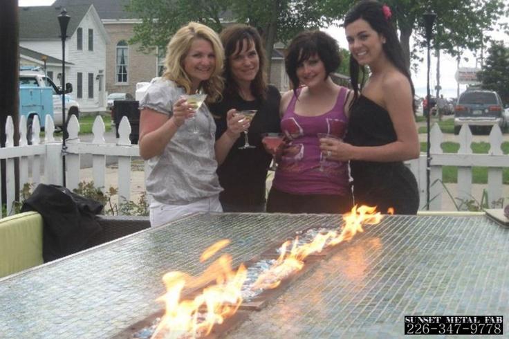 Ceramic top propane fire table
