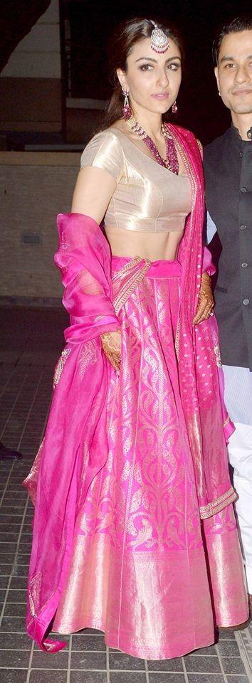 Soha Ali Khan in her Pink Bridal Lehenga