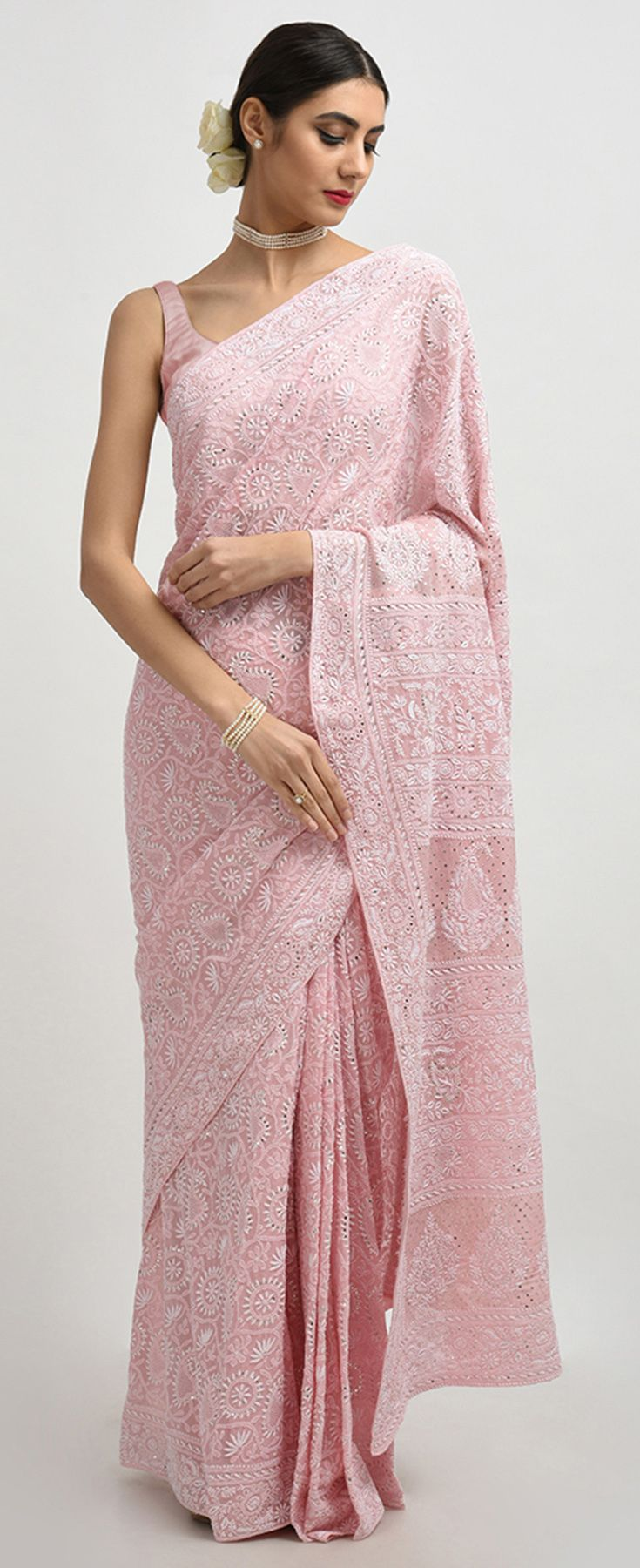 603c945509 Dusty Rose Intricate Chikankari And Kamdani Pure Georgette Saree ...