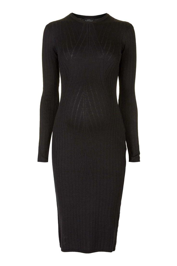 Topshop Maternity Long Sleeve Bodycon Dress in Black | Lyst
