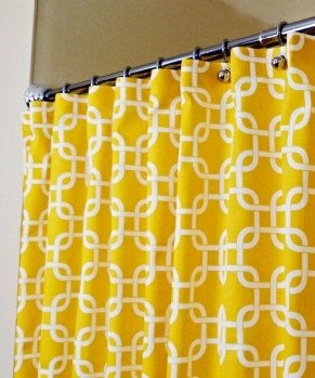 "Yellow Shower Curtain, Classic Pattern of White Interlaced Squares on Corn Yellow Backdrop sized 72"" x 72"" (curtain hooks sold separately). $109.95, via Etsy."