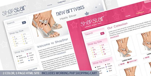 "Shop Star - 2 Color Template inc PHP Shopping Cart . The Shop Star 2 color  HTML  theme is designed to be used in a shop with multiple categories. The website theme has a ""your cart"" bar, search, categories down the side, a specials box on the home page and an animated banner. It includes a standard  HTML  version, along with a  PHP  version"