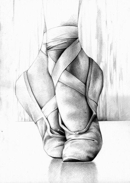 Drawing ballet slippers art