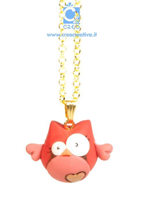 Un gufo innamorato | #necklace #collana #handmade #creo #creocreativa #fimo