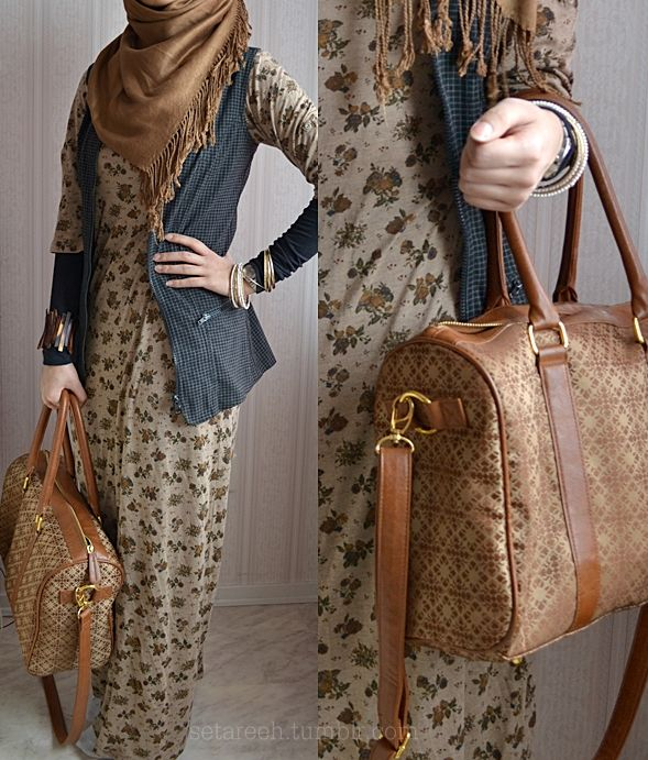 Got a hippy / boho vibe? This modest pairing of dress, vest, sleeve covers and hijab scarf hits the mark! Excellent! Love it! ♥
