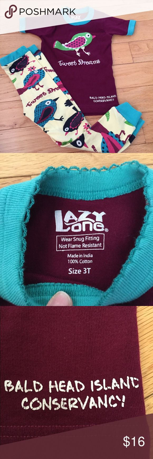 """Lazy One """"Tweet Dreams"""" Pj Set 3t Size 3t Maroon Teal bird Pj Set. Cute short sleeve shirt with pants that have different color birds. VGUC has some screen print cracking. Lazy One Pajamas Pajama Sets"""